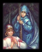 The Mistress of Copper Mountain secretly watches Danila from the pine trees. (Author's Collection)